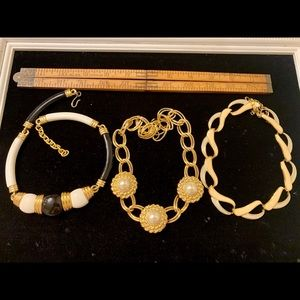 3 vintage necklaces chokers 1980's chunky retro